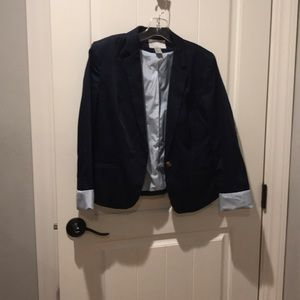 Navy Blue Cotton Poplin Blazer